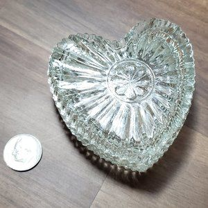 Small Heart Shape Glass Trinket Box.